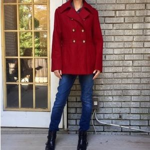 Michael Kors Red Double Breasted Pea Coat Jacket